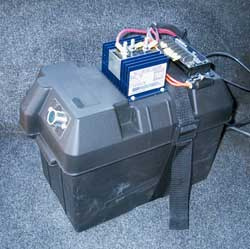 Completed battery box with top mounted battery isolator and solar charge controller