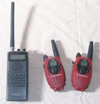 Other useful emergency radios including Radio Shack digital scanner model #PRO-89 and Motorola model #T5200 walkie-talkie.