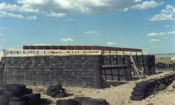 Fig. 1 - Tire walls with roof framing.
