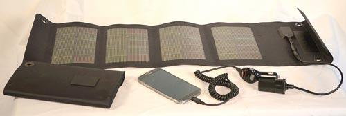 Fold-up 12-watt solar charger is the perfect size to charge cell phones and smaller electronic devices