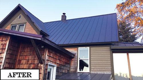 Our finished metal roof was installed over a stripped deck after we made all the necessary repairs.