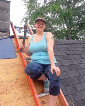 My wife, Sarah, overcame her fear of heights to help with shingle removal.