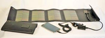 Most fold-up solar chargers come with multiple charging adapters.