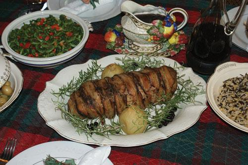 Peppered bacon-wrapped bear roast