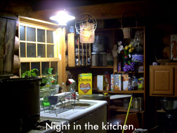 The kitchen at night.