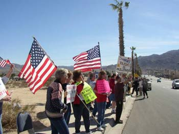Marine Corps wives and supporters rally for the troops in 29 Palms, California.