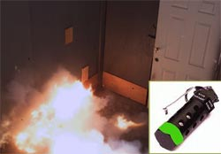 Flash-bang grenade detonates