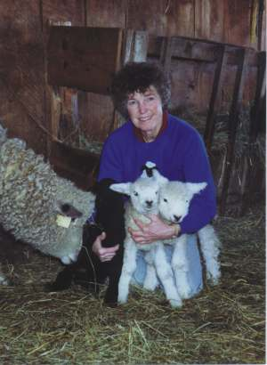 Mother takes interest as Margaret Boos plays with lambs.