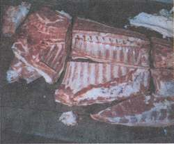 Figure 12. A pig cut up but not yet boned (front)