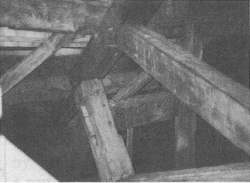 Figure 8. Old-timers, in contrast, build their trusses out of massive hand-hewn timbers. This Vermont example is 150 years old.
