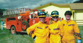 VOLUNTEER FIREFIGHTERS—Carole Perlick, Sue Tickle, and Fran Mahon (left to right) are all Emergency Medical Technicians at the Copco Lake Volunteer Fire Department. Perlick and Tickle are also nurses. (Bob Perlick photo)