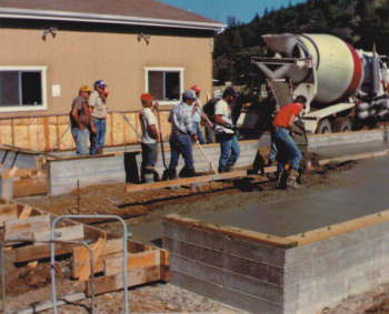 Scott Kimball of Kimball Construction Company volunteered his crew to pour the foundation during the expansion of the fire station