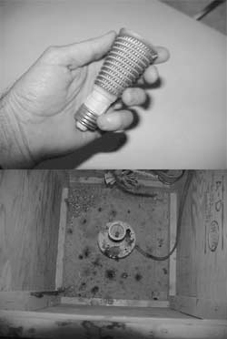 The 600-watt ceramic heat coil [Top] screws into an ordinary porcelain lamp base. [Bottom]