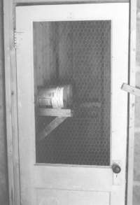 Screen door made by cutting out wood panel and adding chicken wire.