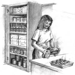 Drawing of woman baking bread and muffins.