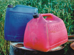 One type of approved and properly marked portable fuel cans.