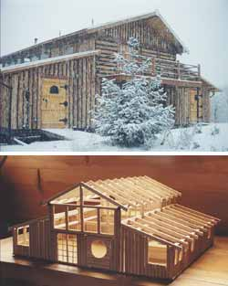 Top - Entance view of home showing loft deck. Bottom - The model Dorothy made of her house 'before' building it. This way she knew exactly what she needed for logs, beams, etc.