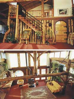 Top - At the top of the stairs is the widow's watch. Bottom - A view of the living room from the loft.