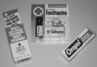 Over-the-counter toothache medicines will help ease the pain from a toothache or broken tooth. Many are available, including those containing eugenol (oil of cloves), such as Red Cross Toothache Medicine, benzocaine, such as Orajel, and those containing both, such as Dent's Toothache Drops.