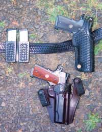 Good guns deserve good holsters. For rough and tumble outdoor wear, author recommends a safety strap as on G. Wm. Davis scabbard, top. For concealment, inside the waistband holster by Milt Sparks, below, is a favorite. Pistols are cocked and locked Wilson .45s; dress gunbelt by Bianchi and magazine pouch by Sparks.