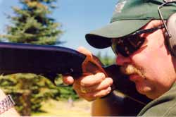 Always wear ear and eye protection while shooting. Master firearms instructor Marty Hayes demonstrates.