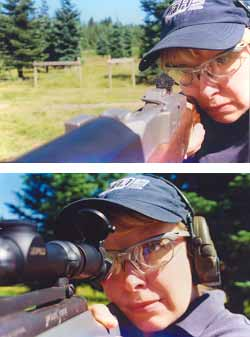 Top - Ace firearms instructor Gila Hayes, Firearms Academy of Seattle, properly looks through the aperture rear sight of her Ruger Ranch Rifle and focuses on the front sight. Bottom - Gila's compact Remington Model 7 .308 and properly mounted Leupold telescopic sight fit her perfectly. She's on target the instant her cheek hits the stock, as certain deer have reason to regret.