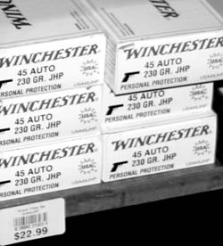 Ammo prices are going up precipitously, but there are still good deals. Here is Winchester USA brand .45 hollow point, on sale in August 2007 for less than similar rounds 21 years ago.