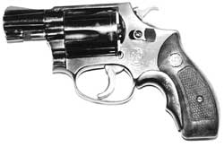 A little 'snub-nose .38' like this ended the depredations, and the life, of urban terrorist Twymon Myers. This one is the ubiquitous Smith & Wesson Chiefs Special, in production since 1950 and weighing some 19 ounces with five-shot capacity.
