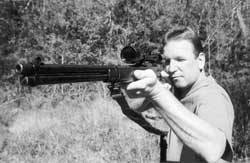 Veteran hunter and gun dealer Jeff Boss demonstrates the excellent handling of the lever action Marlin carbine, unusually accurate for a rifle of this type.