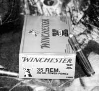For a bit more fire, the .35 Remington caliber has been offered in the 336 since 1952. Author is partial to this 200 grain Winchester Power Point round.