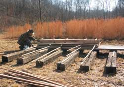 Drying yard with railroad ties