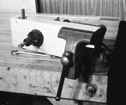 The vise mount in use (vertically)