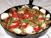 Seafood paella with brown rice