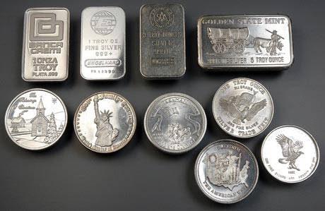 An assortment of generic bullion. Note the different shapes and weights.