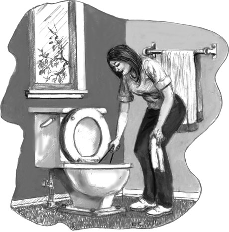 woman fixing clogged toilet