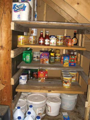 My new shelves under the basement stairs can hold a lot of food and other bulky non-food items, like toilet paper. Note the 5-gallon gasketed pails underneath, full of bags of chocolate chips, beans, rice, raisins, etc.