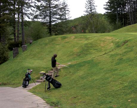 Robby Duffy scrambles on the 2nd hole at Salmon Run in Brookings, Oregon. One of the most important life lessons golf teaches you is self-reliance. If you get in trouble, you must get yourself out, not rely on others.