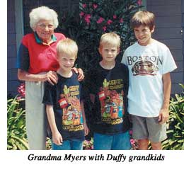 Grandma Myers with Duffy grandkids.