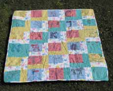 Thirty log cabin squares formed this simple, quick-to-make quilt.