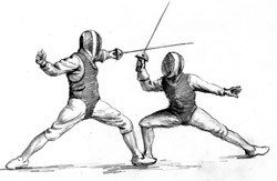 The author's husband taught fencing on a small, concrete patio.