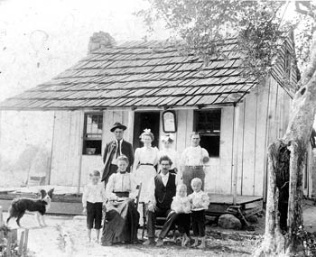 Tagg Road, a spur running north from Greasy Ridge Road. The John Clary family, circa 1904.