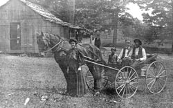 Unidentified family, horse buggy, frame vernacular house, Waterloo, Ohio, near Greasy Ridge, circa 1900