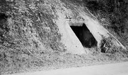 Hand hewed rock cellar on Williams Creek, near Greasy Ridge, Gallia County, Ohio, built circa 1910. Family cellars were used to store milk, potatoes, apples, canned goods, turnips.