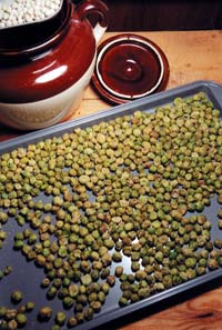 In a few easy steps, common dried whole peas become a great healthy snack known as wasabi peas.