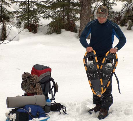 Solid decking supports more weight than webbing, enabling a smaller snowshoe frame to carry a heavier load.