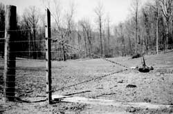 Using a wooden fence stretcher, a come-along, and a chain to stretch a run of woven wire fence