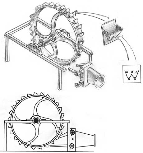 The Pelton water turbine or wheel revolutionized water wheels by making them more efficient. It is a rotor driven by the impulse of a jet of water upon curved buckets fixed to its periphery. Each bucket is divided in half by a splitter edge that divides the water into two streams. The buckets have a two-curved section which completely reverses the direction of the water jet striking them.