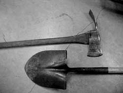 A Pulaski (axe/hoe combo) and a standard shovel are excellent wildland firefighting tools for the homeowner
