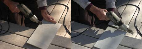 Fiber cement shears cut through the fiber cement board cleanly, and without dust. They remove about a quarter-inch kerf.