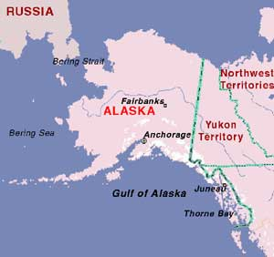 Map showing Alaska and location of Thorne Bay.